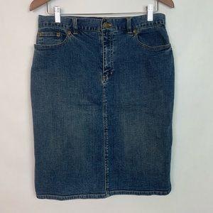 Jones New York Stretch Denim Midi Pencil Skirt 8
